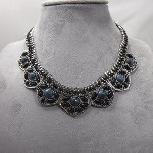 NY&Co Silver Toned and Blue Statement Necklace